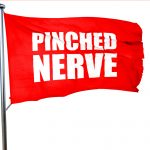 pinched nerve, 3D rendering, a red waving flag